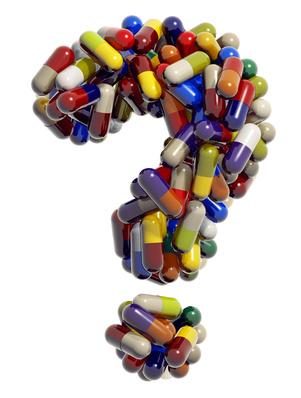 Знак вопроса из медицинских таблет