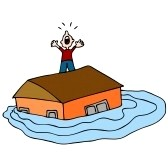 9113645-an-image-of-a-man-on-the-roof-of-his-flooded-house-screaming-for-help